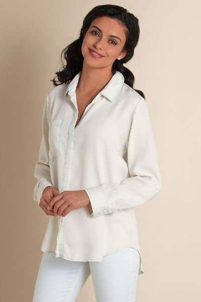 Talia Tencel Shirt - Womens Tencel Denim Shirt, Womens Tencel Denim Tunic | Soft Surroundings
