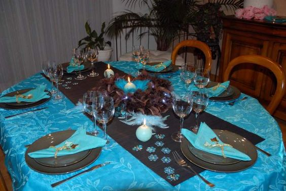 D coration de table turquoise et chocolat d coration for Decoration de table bleu turquoise