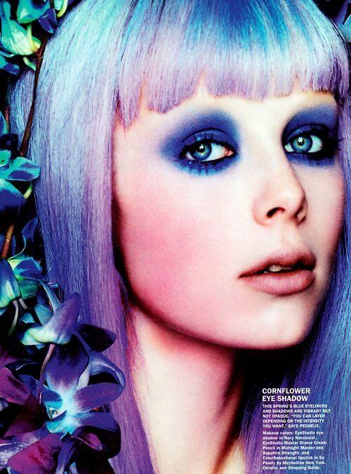 lilac hair, purple smokey eyes, neon glow