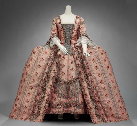 18th century womens mantua style gown fashion history