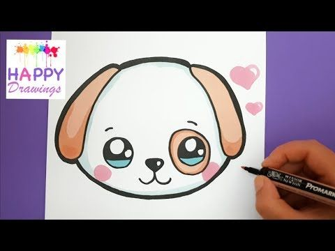 In This Video You Will Learn How To Draw And Color A Super Cute And Super Easy Baby Puppy Face Step By Step Happy Drawing Puppy Drawing Easy Puppy Drawing