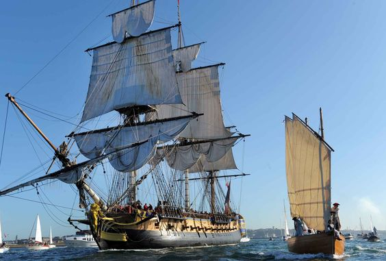 """The """"Hermione"""" leaves the port of Brest to join Bordeaux, August 17, 2015. The three-masted frigate is a replica of the ship La Fayette took to help fight for American Independence."""