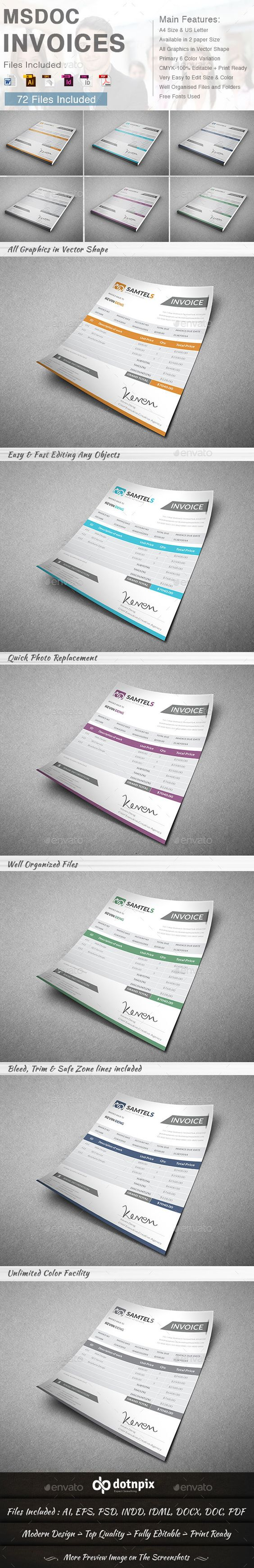 Msdoc Invoices Template | Download: http://graphicriver.net/item/msdoc-invoices/8792318?ref=ksioks