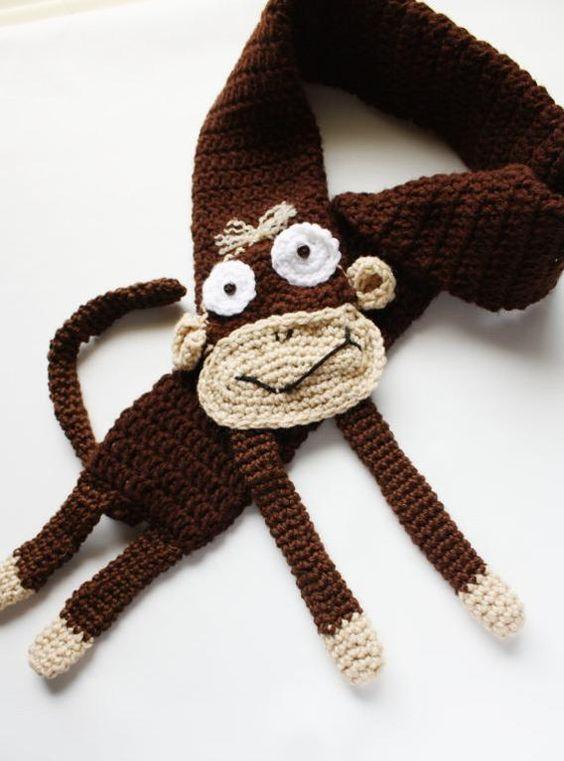 crochet monkey scarf