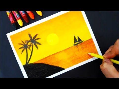 Gun Batimi Pastel Boya Ile Cizimi Sun Scenery With Pastel For