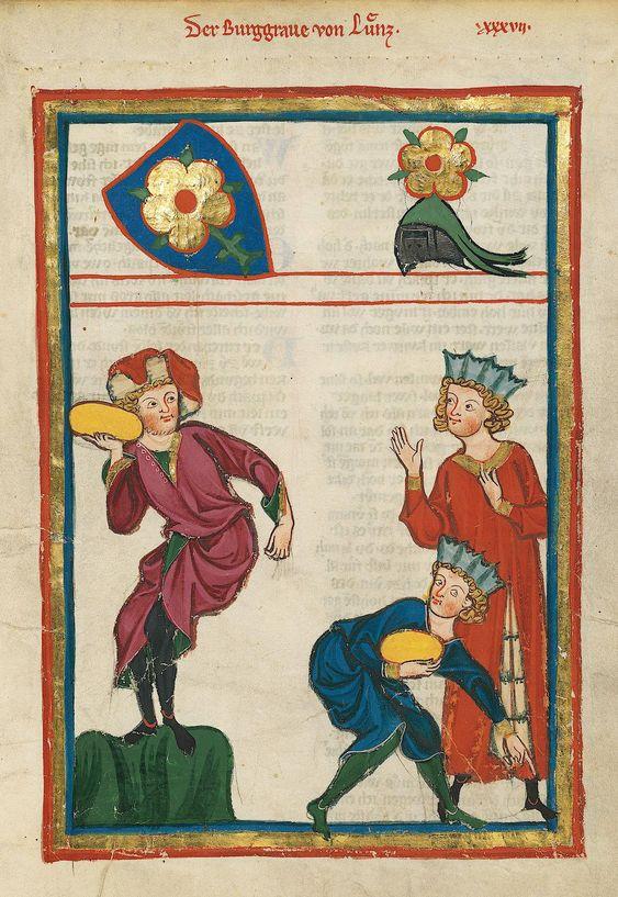 Codex Manesse, UB Heidelberg, Cod. Pal. germ. 848, fol. 115r: Burggraf von Lienz, beim sportlichen Steinstoßen