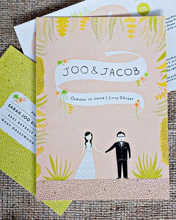 This casual invitation features a custom-made wedding cartoon of the bride and groom