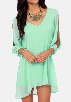 Light Green Plain Hollow-out Slit Long Sleeve Chiffon Dress