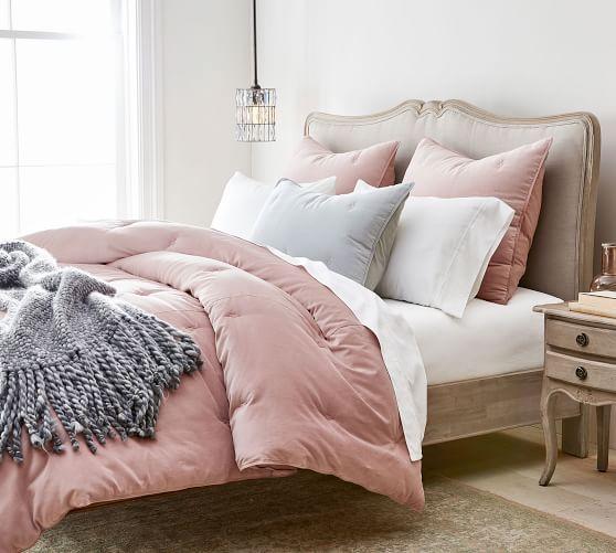 Velvet Tufted Comforter Shams Blush In 2020 Velvet Comforter Comfortable Bedroom Pink Bed Sheets