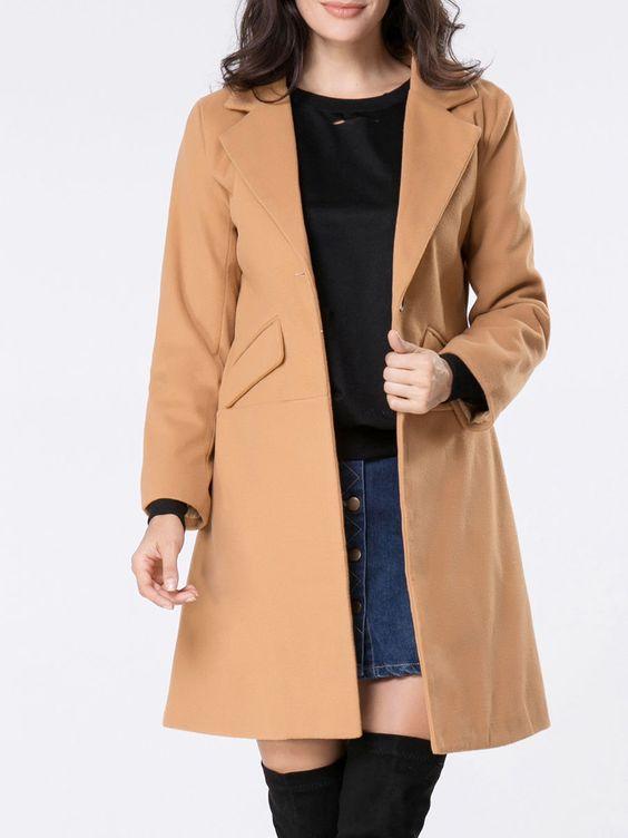 Notch Lapel Single Button Plain Woolen Coat Only $22.95 USD More info...