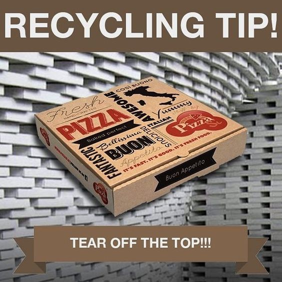 Although you can't recycle your whole pizza box, you can tear off and recycle the top half, as long as it's grease-free. Keep this tip in mind if you're picking up a pizza or ordering in this weekend!