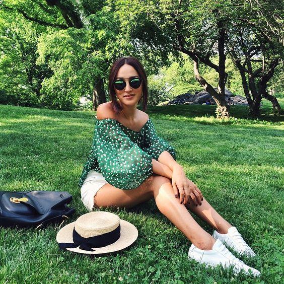 Nicole Warne in Vika Gazinskaya top, Christian Dior sunglasses - Memorial Day in Central Park, New York. (May 2015)