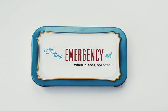 A tiny emergency kit made from an Altoids tin - for the sisters you visit teach.