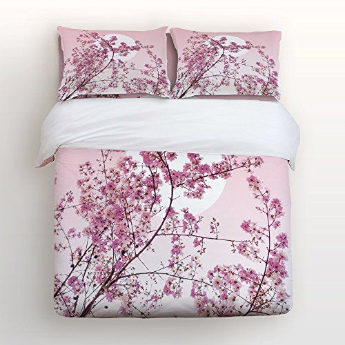 4 Pcs Bedding Set Cherry Blossom Sakura Tree Branches On Moon Japanese Style Bed Covers Queen Duvet Cover Bed Sheet Pillow Japanese Style Bed Bed Luxurious Bed