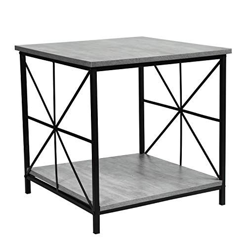 Asense Side Table 2 Tier Side Table With Storage Shelf Wooden Accent Table Top Sturdy Metal Frame Fossil Color Height 19 Inch In 2019 Side Table With Storage Wood Table Table