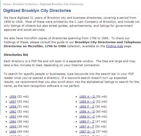 Digitized Brooklyn City Directories