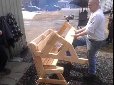 Folding Bench And Picnic Table Combo With Blue Print