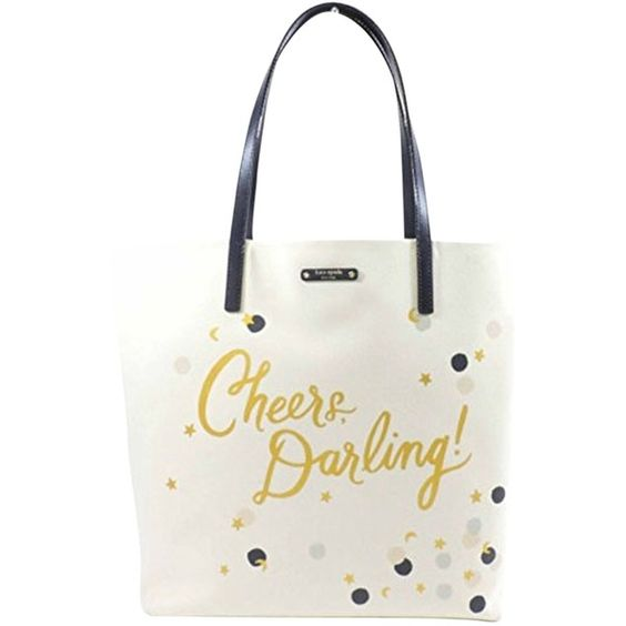 """Pre-owned Kate Spade """"cheers Darling"""" Bon Ivory Tote Bag ($134) ❤ liked on Polyvore featuring bags, handbags, tote bags, ivory, white leather tote, kate spade shoulder bag, leather tote bags, white leather handbags and handbag tote"""