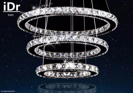 3 anelli moderna led lampadario lustre per sala da pranzo, hall, scale lampade di cristallo c in        Modello: C- Dimensioni (cm): da Lampadari su AliExpress.com | Gruppo Alibaba