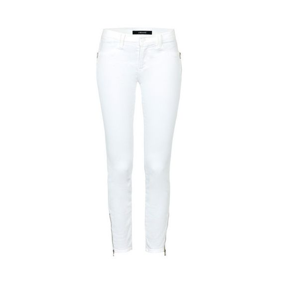 J Brand Tali Jeans ($155) ❤ liked on Polyvore featuring jeans, white, white cropped skinny jeans, j brand, cropped skinny jeans, white cropped jeans and white super skinny jeans