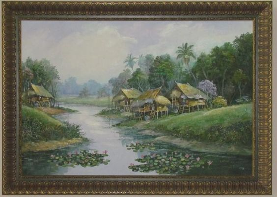 Original Vietnam Village Scape Framed Oil On Canvas
