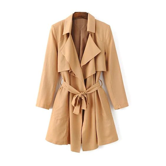 Belted Cape Lapel Neck Long Sleeve Trench Coat (€30) ❤ liked on Polyvore featuring outerwear, coats, beige coat, trench coat, beige cape coat, trench cape and trench coats