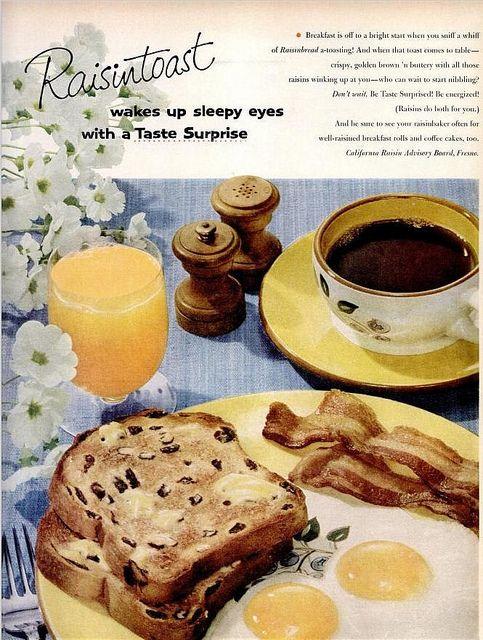 Need to make this breakfast! Eggs, bacon, raisin toast + coffee & OJ :) Complete w/ yellow plates!