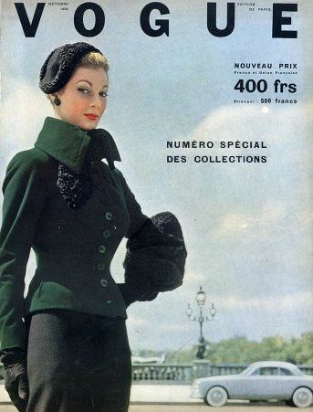 Fiona Campbell-Walter in suit by Jacques Fath, French Vogue Oct. 1952, cover by Robert Doisneau