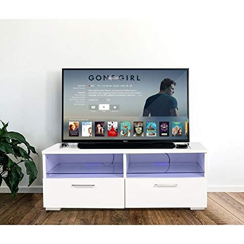 Joolihome 42 Inch Tv Stand White Gloss Tv Console With Storage
