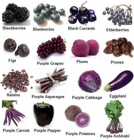 Blue, violet and indigo foods have tons of antioxidants, Some blue and purple fruits and vegetables are also really high in vitamin C.    Anything in this category will help improve circulation and prevent blood clots, so they are great for the heart and can help prevent heart disease. They are also known to help memory function and urinary tract health and to reduce free radicals.