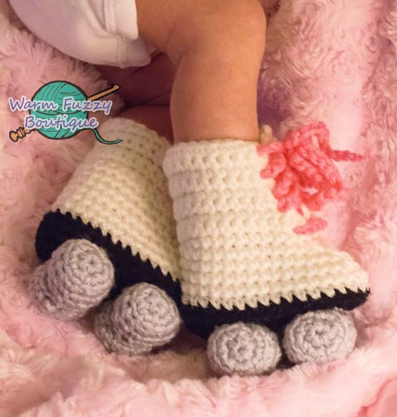 Baby Roller Skates Booties Pink Laces White Grey Crochet Winter Outfit Newborn Boy Girl Halloween Photo Prop Accessory by WarmFuzzyBoutique on Etsy https://www.etsy.com/listing/100001582/baby-roller-skates-booties-pink-laces: