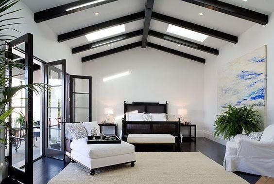 Black beams, black trim, & white walls