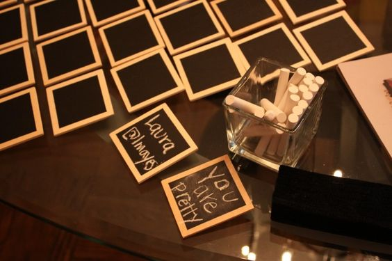 DIY Blackboard name tags for parties