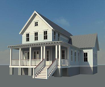 Coastal Home Plans Bay Point Cottage Master On 1st Floor