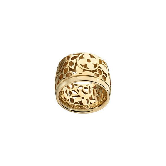 Louis Vuitton Monogram Résille Large Band Ring, Yellow Gold ($3,150) found on Polyvore