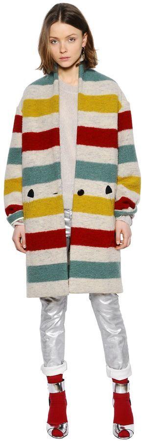 Striped Boiled Wool Blend Coat