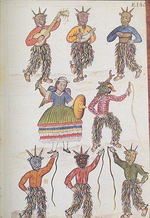 Pintura de la Danza de los diablicos en Túcume, Perú