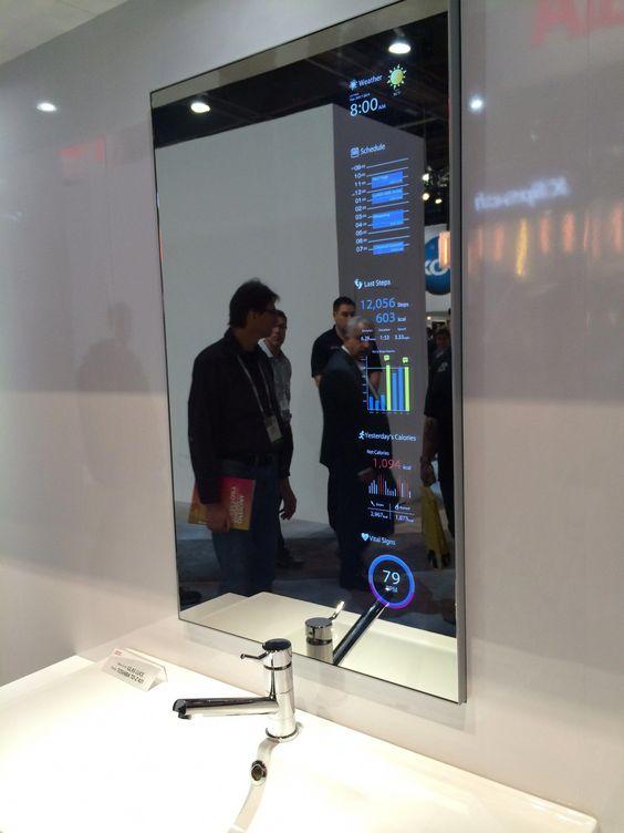 Smart Mirror Display Smarthome Tecnologia De Casa Tecnologia