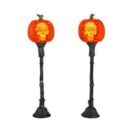 "Department 56: General Village Halloween - ""Evil Pumpkin Lampposts"" - #4033847 - $27.50 - Intro Jan 2013 - Retired Dec 2014"