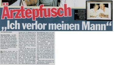"""Express vom 25.11.2013 - Ärztepfusch """"Ich verlor meinen Mann"""" - Rechtsanwaltskanzlei Sabrina Diehl"""