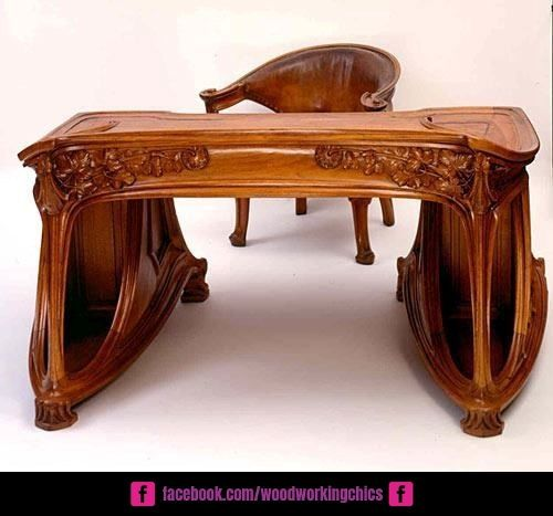 Woodworking Projects You Can Make That Sell Really Well Download More Than 500 Ideas For Best Selling Wood Crafts With Images Art Nouveau Desk Art Nouveau Furniture