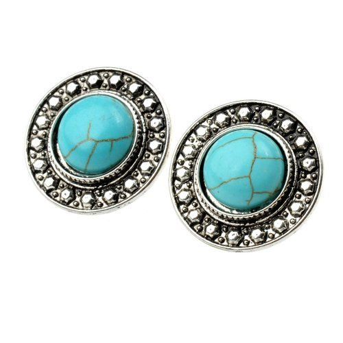 Amazon.com: Starr Y Women's Inlay Round Turquoise Alloy Stud Earrings: Jewelry