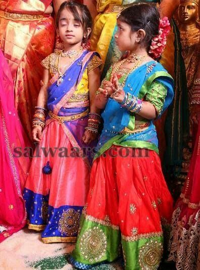 Cute Kids In Lovely Half Sarees Indian Dresses Indian