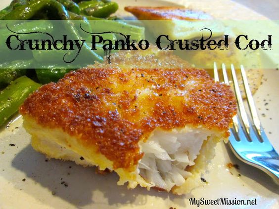 Tired of boring fish for dinner? My recipe for Crunchy Panko Crusted Cod using Panko bread crumbs will take your fish to a whole new delicious crunchy level! Get the recipe at: http://mysweetmission.net/2013/08/crunchy-panko-crusted-cod.html Nutrition: http://myrecipemagic.com/recipe/recipedetail/crunchy-panko-crusted-cod