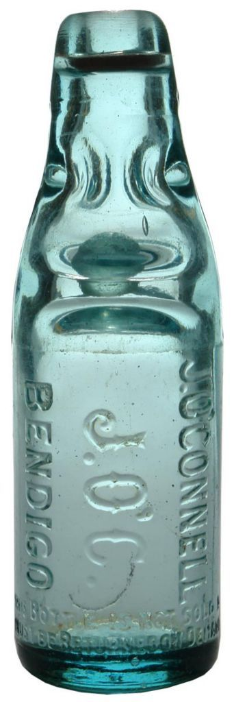 J. O'Connell Bendigo. Fourway or Dobson type closure. Codd bottle. c1920s. Lengthwise embossing. Pale blue colour.