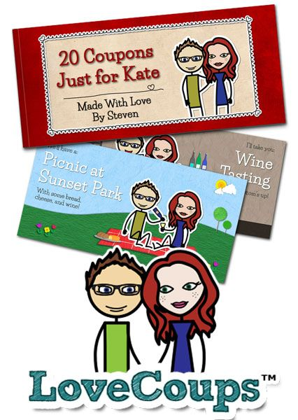 Create your own personalized love coupons starring you and the one you love.: