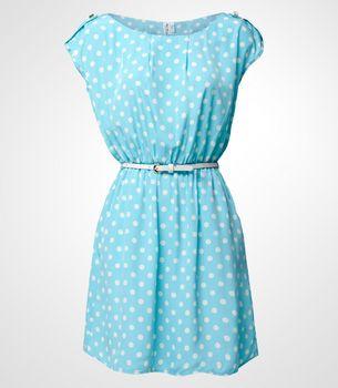 FredFlare.com - Blue Me Away Polka Dot Dress - Light Blue and White Sleeveless Dress