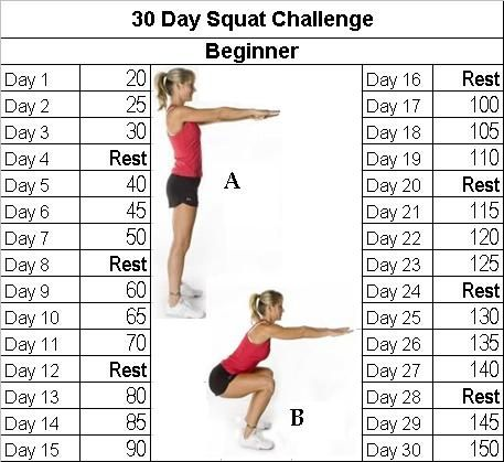 Fitness Challenge: 30 Day Squat Challenge.  A 30 day challenge for beginners to help you get that bottom you were looking for.  There is an advanced version of this one on the website.
