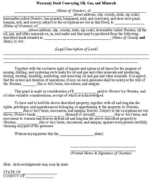 Warranty Deed Conveying Oil, Gas, and Minerals template Business - warranty deed form
