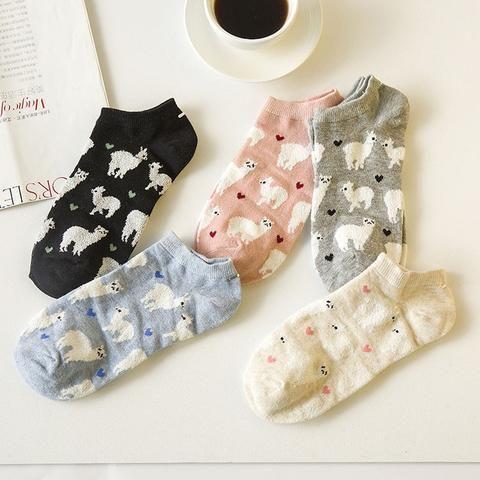 2017 Novelty Women Alpaca Tube Socks Japanese Cute Women S Animal Cartoon Boatsocks Spring Summer Pure Cotton S Llama Socks Socks Women Women S Socks Hosiery